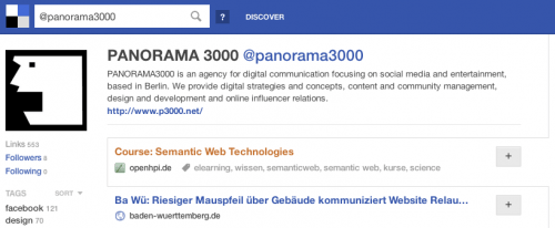 PANORAMA3000 empfohlene Links auf Delicious