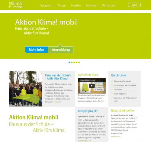 Aktion Klima! mobil Website