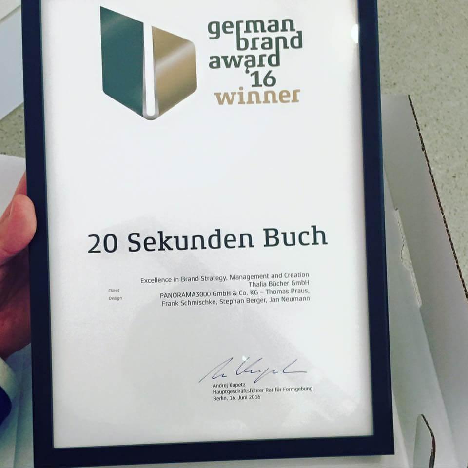 PANORAMA3000 gewinnt den German Brand Award