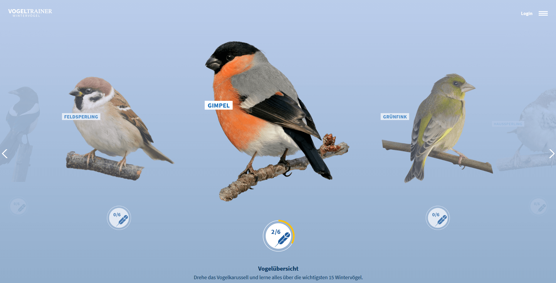 Vogeltrainer Vogelübersicht