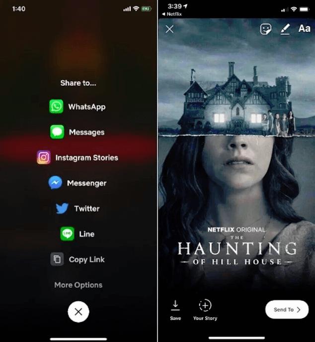 Netflix iOS-App mit der Option Inhalte auf Instagram zu teilen