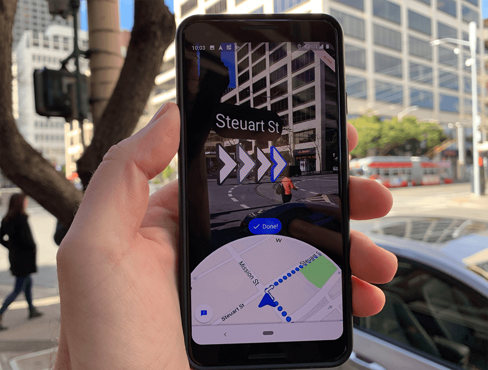 Google maps augmented reality handy
