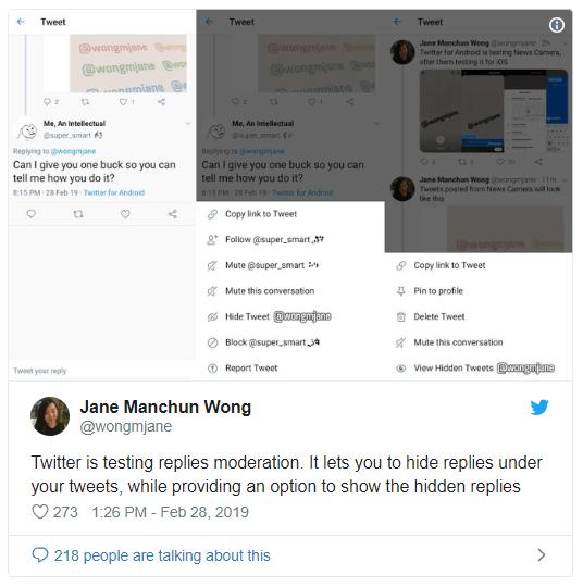 twitter hide tweet
