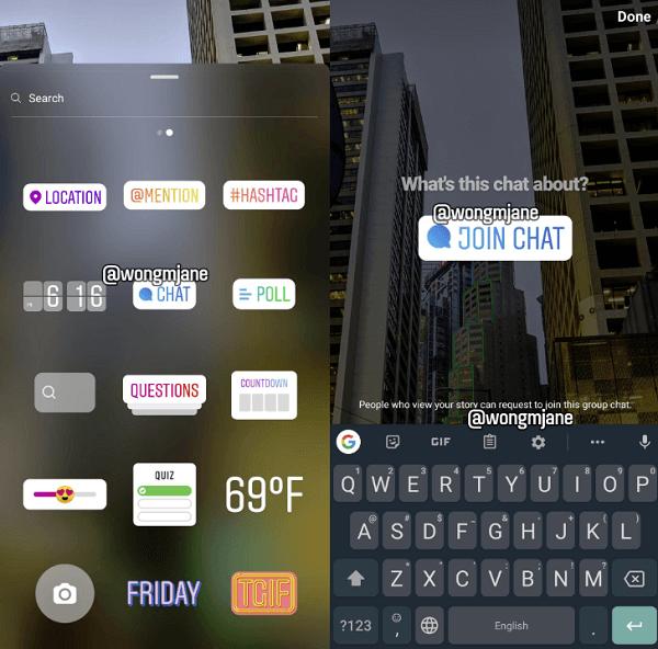 """""""Join Chat"""" Sticker für Instagram-Stories"""