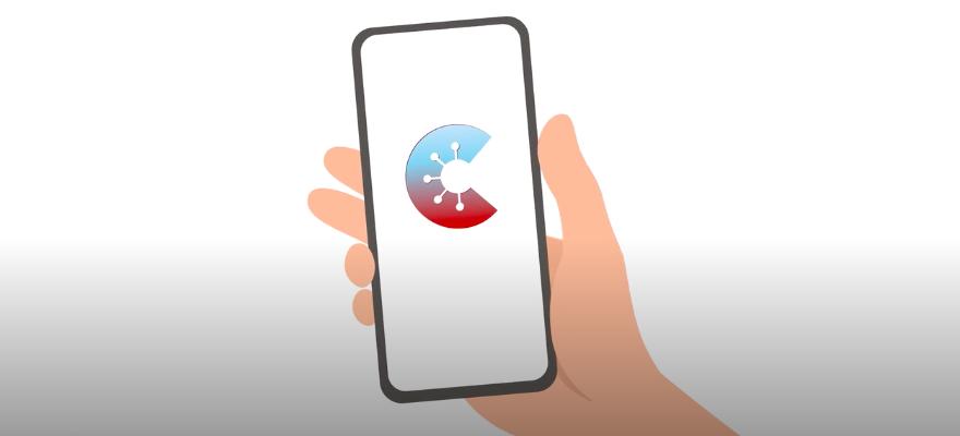 Symbol der Corona-Warn-App auf Handydisplay