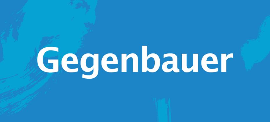Gegenbauer-Logo in weiß auf blauem Hintergrund
