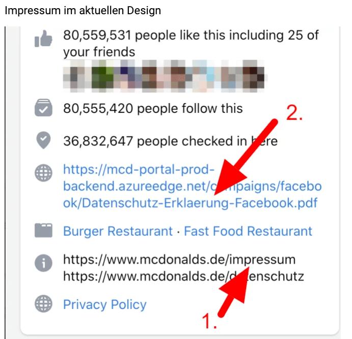 Screenshot von eine Facebook-Seite