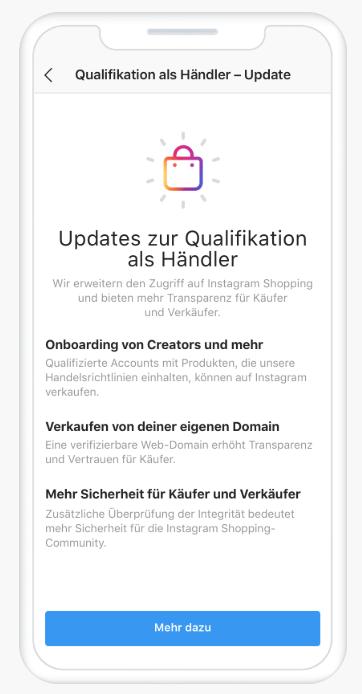 Screenshot mit Infos über Instagram Shopping
