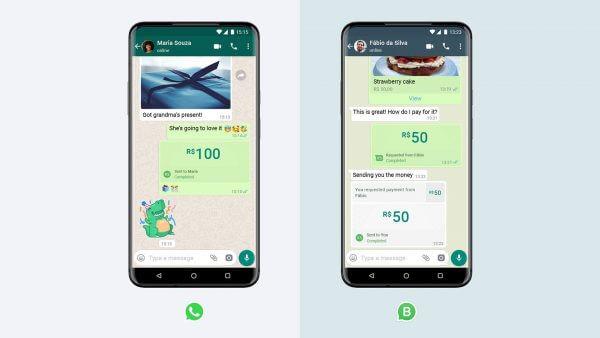 Smartphone-Display mit WhatsApp Pay